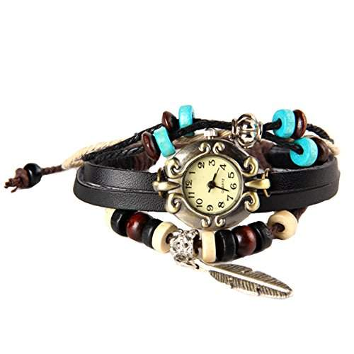 GSPStyle Damen Uhr Lede Damenuhr Blatt-Anhaenger Armbanduhr Quarzuhr Armreif Farbe Schwarz
