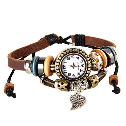 GSPStyle Damen Uhr Lederarmband Damenuhr Kugle Blatt-Anhaenger Armbanduhr Quarzuhr Farbe Braun