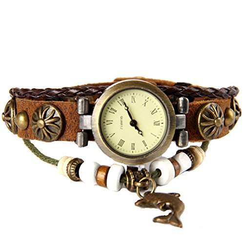 GSPStyle Damen Leder Quarz Uhr Damenuhr Delphin-Anhaenger Armbanduhr Quarzuhr Farbe Braun