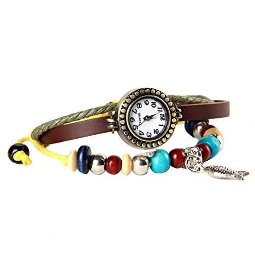 GSPStyle Damen Leder Quarz Uhr Damenuhr Fisch-Anhaenger Armbanduhr Armreif Quarzuhr Farbe Braun