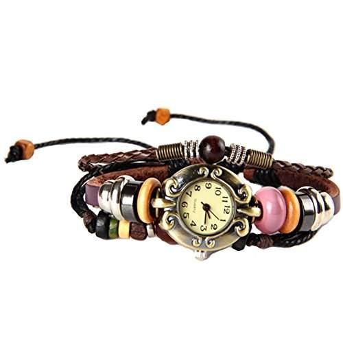 GSPStyle Damen Quarz Uhr Lederarmband Damenuhr Kuglen Armbanduhr Quarzuhr Farbe Braun