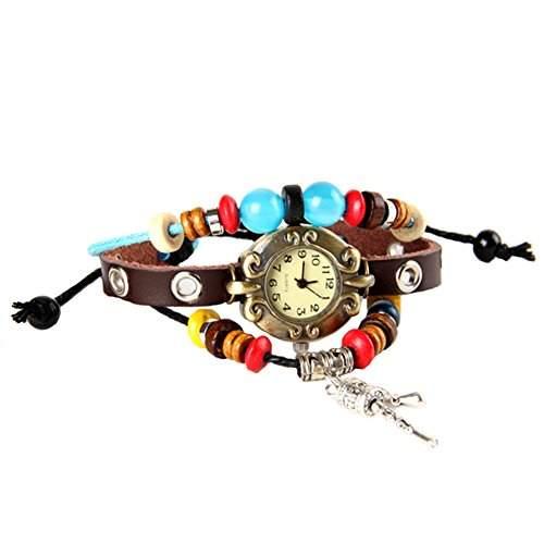 GSPStyle Damen Quarz Uhr Lederarmband Damenuhr Kuglen Weben Armbanduhr Quarzuhr Farbe Braun
