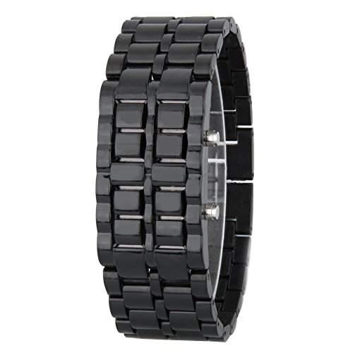 GSPStyle Unisex Rot LED Uhr Herrenuhr Damenuhr Kunststoff Armbanduhr Quarzuhr Farbe Schwarz