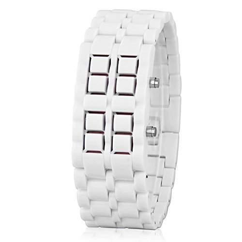 GSPStyle Unisex Rot LED Uhr Herrenuhr Damenuhr Kunststoff Armbanduhr Quarzuhr Farbe Weiss
