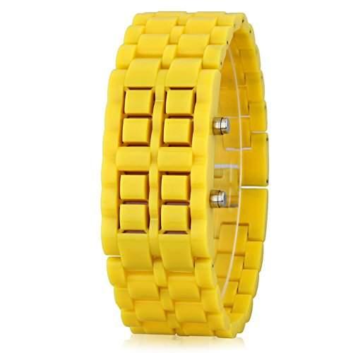 GSPStyle Unisex Rot LED Uhr Herrenuhr Damenuhr Kunststoff Armbanduhr Quarzuhr Farbe Gelb