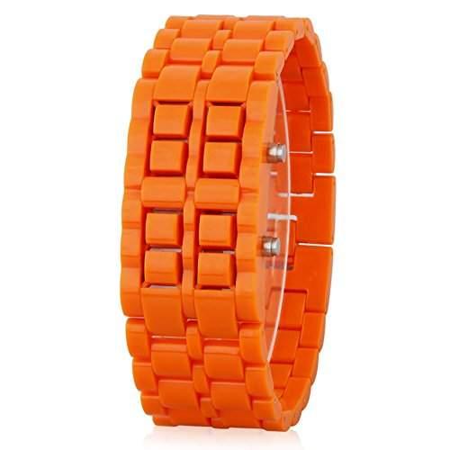 GSPStyle Unisex Blau LED Uhr Herrenuhr Damenuhr Kunststoff Armbanduhr Quarzuhr Farbe Orange
