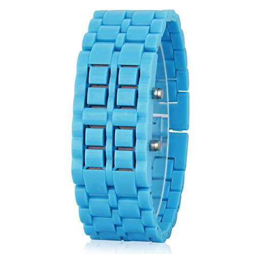 GSPStyle Unisex Blau LED Uhr Herrenuhr Damenuhr Kunststoff Armbanduhr Quarzuhr Farbe Hellblau