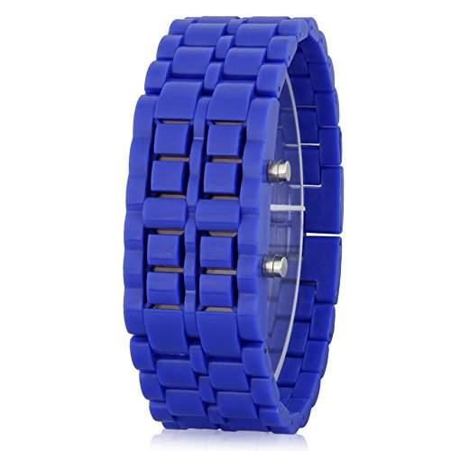 GSPStyle Unisex Blau LED Uhr Herrenuhr Damenuhr Kunststoff Armbanduhr Quarzuhr Farbe Blau