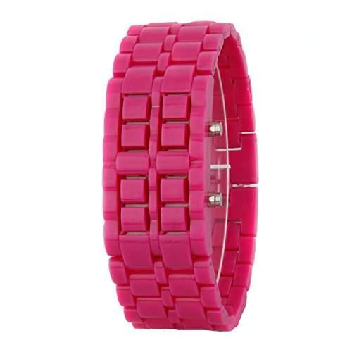 GSPStyle Unisex Blau LED Uhr Herrenuhr Damenuhr Kunststoff Armbanduhr Quarzuhr Farbe Dukelrosa