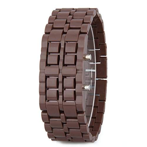 GSPStyle Unisex Blau LED Uhr Herrenuhr Damenuhr Kunststoff Armbanduhr Quarzuhr Farbe Braun