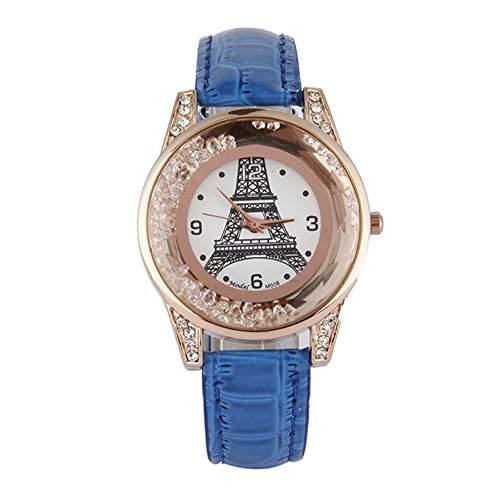 GSPStyle Damen Quarz Uhr Damenuhr Strass Dekor Armbanduhr Analog Quarzuhr Farbe Hellblau