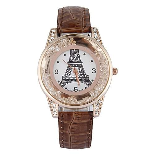 GSPStyle Damen Quarz Uhr Damenuhr Strass Dekor Armbanduhr Analog Quarzuhr Farbe Braun
