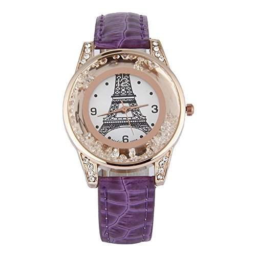 GSPStyle Damen Quarz Uhr Damenuhr Strass Dekor Armbanduhr Analog Quarzuhr Farbe Lila