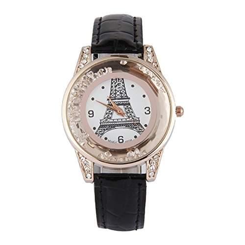 GSPStyle Damen Quarz Uhr Damenuhr Strass Dekor Armbanduhr Analog Quarzuhr Farbe Schwarz