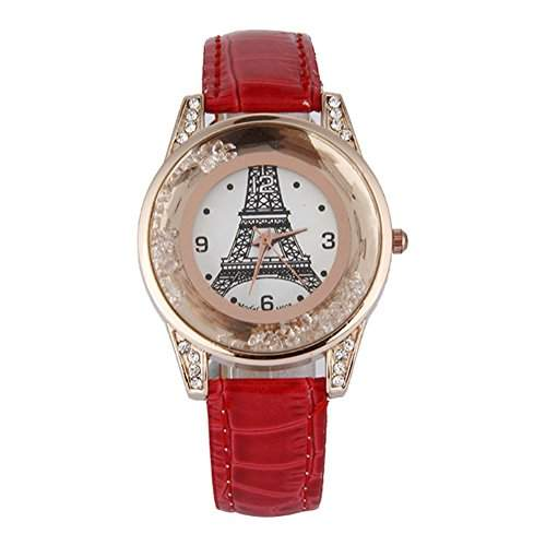 GSPStyle Damen Quarz Uhr Damenuhr Strass Dekor Armbanduhr Analog Quarzuhr Farbe Rot