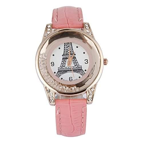 GSPStyle Damen Quarz Uhr Damenuhr Strass Dekor Armbanduhr Analog Quarzuhr Farbe Pink