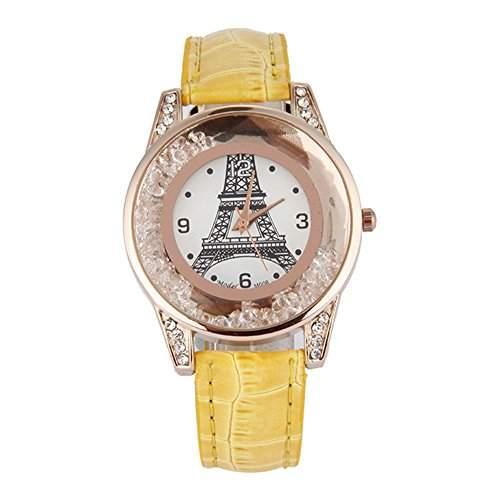GSPStyle Damen Quarz Uhr Damenuhr Strass Dekor Armbanduhr Analog Quarzuhr Farbe Gelb