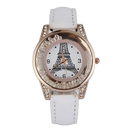 GSPStyle Damen Quarz Uhr Damenuhr Strass Dekor Armbanduhr Analog Quarzuhr Farbe Weiss