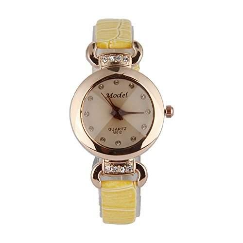 GSPStyle Damen Quarz Uhr Damenuhr Strass Kunstleder Armbanduhr Analog Quarzuhr Farbe Gelb