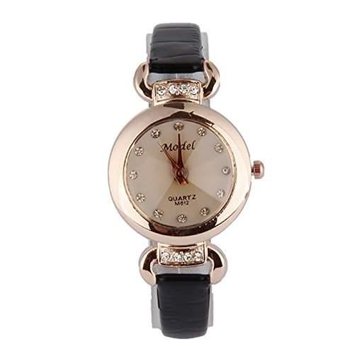 GSPStyle Damen Quarz Uhr Damenuhr Strass Kunstleder Armbanduhr Analog Quarzuhr Farbe Schwarz