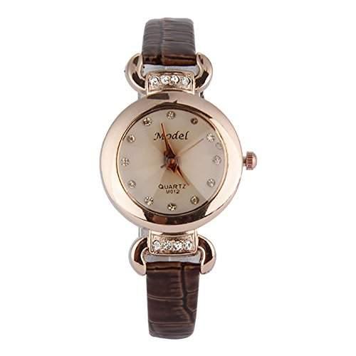 GSPStyle Damen Quarz Uhr Damenuhr Strass Kunstleder Armbanduhr Analog Quarzuhr Farbe Braun