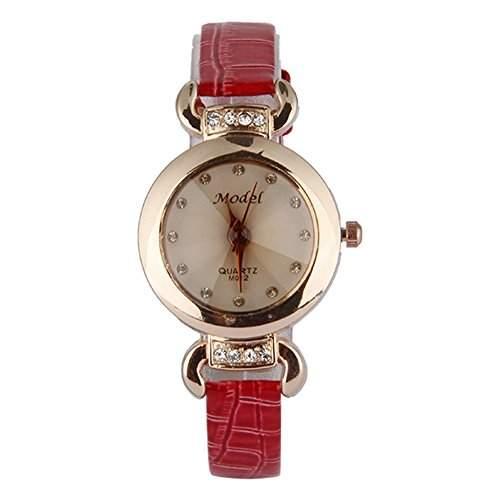 GSPStyle Damen Quarz Uhr Damenuhr Strass Kunstleder Armbanduhr Analog Quarzuhr Farbe Rot