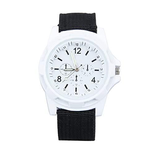 GSPStyle Unisex Quarz Uhr Herrenuhr Canvas Armbanduhr Damenuhr Sportliche Quarzuhr Farbe Weiss