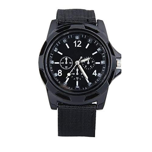 GSPStyle Unisex Quarz Uhr Herrenuhr Canvas Armbanduhr Damenuhr Sportliche Quarzuhr Farbe Schwarz