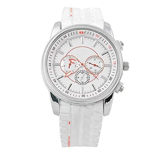 GSPStyle Herren Quarz Uhr Unisex Silikon Armbanduhr Dekorative Zifferblatt Sportliche Quarzuhr Farbe Weiss