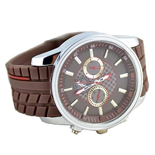 GSPStyle Herren Quarz Uhr Unisex Silikon Armbanduhr Dekorative Zifferblatt Sportliche Quarzuhr Farbe Braun