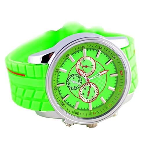 GSPStyle Herren Quarz Uhr Unisex Silikon Armbanduhr Dekorative Zifferblatt Sportliche Quarzuhr Farbe Gruen