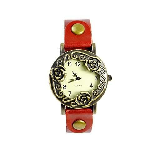 GSPStyle Damen Quarz Uhr Lederarmband Uhren Armbanduhr Retro Rose Analog Quarzuhr Farbe Rot