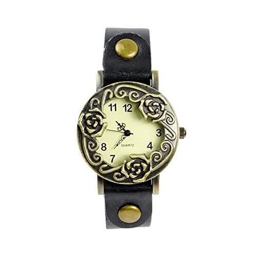 GSPStyle Damen Quarz Uhr Lederarmband Uhren Armbanduhr Retro Rose Analog Quarzuhr Farbe Schwarz