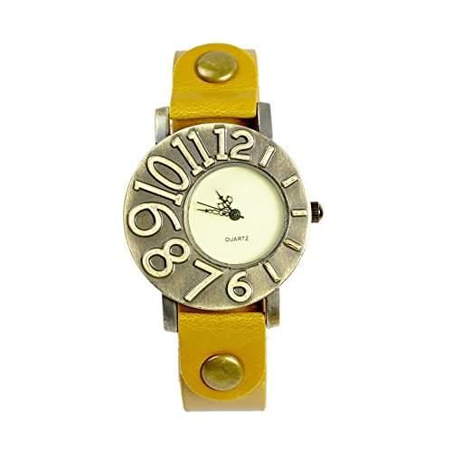 GSPStyle Damen Quarz Uhr Lederarmband Uhren Armbanduhr Ziffer Design Analog Quarzuhr Farbe Gelb