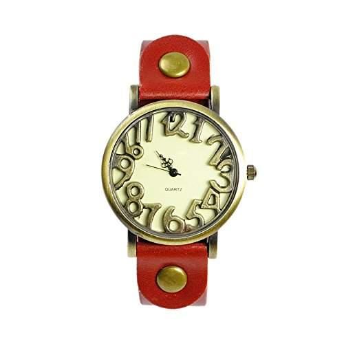 GSPStyle Damen Quarz Uhr Lederarmband Uhren Armbanduhr Ziffer Zifferblatt Analog Quarzuhr Farbe Rot