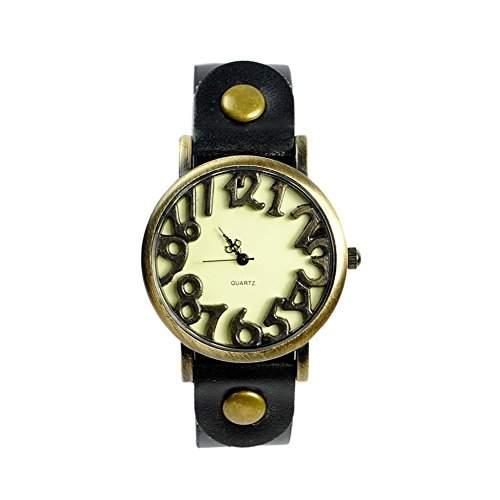 GSPStyle Damen Quarz Uhr Lederarmband Uhren Armbanduhr Ziffer Zifferblatt Analog Quarzuhr Farbe Schwarz