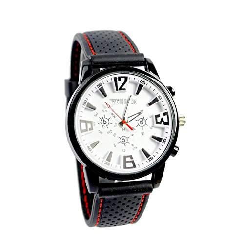 GSPStyle Herren Quarz Uhr Unisex Armbanduhr Dekorative Zifferblatt Sportliche Quarzuhr Farbe Weiss