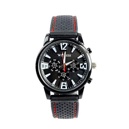 GSPStyle Herren Quarz Uhr Unisex Armbanduhr Dekorative Zifferblatt Sportliche Quarzuhr Farbe Schwarz