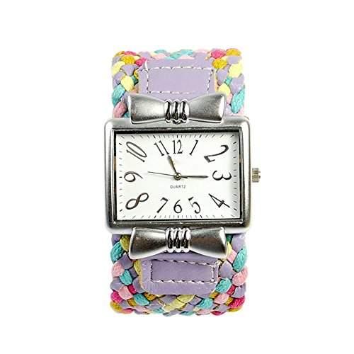 GSPStyle Damen Quarz Uhr Bunte Weben Armbanduhr Analog Damenuhr Maedchen Quarzuhr Farbe Lila