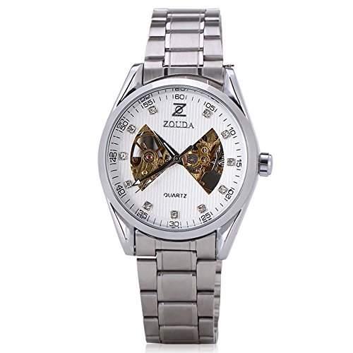 GSPStyle Herren Automatikuhr automatische Armbanduhr Edelstahl Armbanduhren Mechanische Uhr Weiss