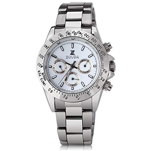 GSPStyle Herren Automatikuhr automatische Armbanduhr Edelstahl Kalender Mechanische Uhr Farbe Weiss