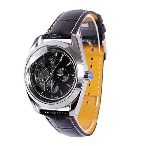GSPStyle Herren Automatikuhr Automatik Armbanduhr Mechanische Uhr Lederarmband Farbe Schwarz