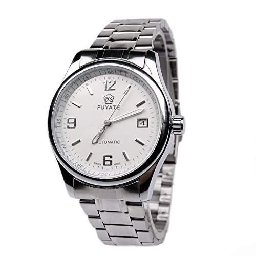 GSPStyle Herren Automatikuhr Automatische Edelstahl Armbanduhr Tag Analog Mechanische Uhr Farbe Weiss
