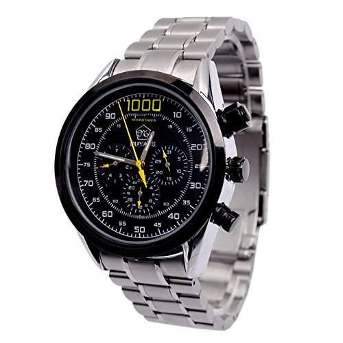 GSPStyle Herren Automatikuhr automatische Armbanduhr Edelstahl Mechanische Uhr Kalender Ziffernblatt Farbe Schwarz