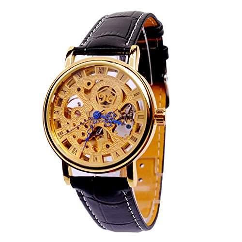 GSPStyle Herren Automatikuhr Automatik Armbanduhr Skelett Mechanische Uhr Lederarmband Farbe Schwarz