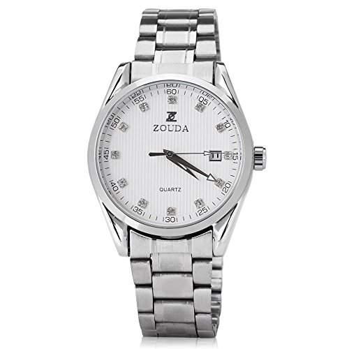 GSPStyle Herren Automatikuhr automatische Armbanduhr Edelstahl Kalender Tag Mechanische Uhr Farbe Weiss