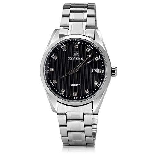 GSPStyle Herren Automatikuhr automatische Armbanduhr Edelstahl Kalender Tag Mechanische Uhr Farbe Schwarz