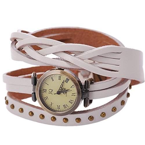 GSPStyle Damen Uhr Lederarmband Wickelung Damenuhr Armbanduhr Quarzuhr Armbaender Uhren Farbe Blau