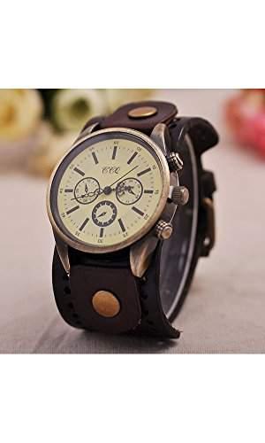GSPStyle Damen Uhr Lederarmband Retro Damenuhr Herren Armbanduhr Quarzuhr Unisex Uhren Farbe Orange