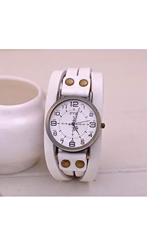 GSPStyle Unisex Uhr Lederarmband Retro Damenuhr Herrenuhr Armbanduhr Quarzuhr Unisex Uhren Farbe Weiss